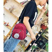 Женский вельветовый мини рюкзак Kelly красный, фото 3