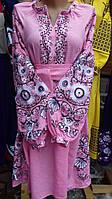 """Вишита сукня""""Дерево-життя"""" тканина льон розовий"""