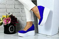 Туфли на платформе материал  натуральная замша женские электрик р 37