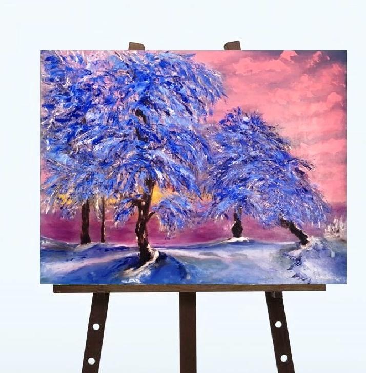 """Картина """"Зима на Сході"""", масло"""