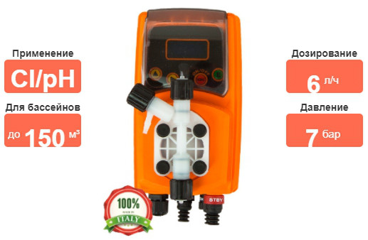 Насос–дозатор Emec VMS PO 0706FP на хлор и ph характеристики