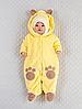 """Велюровый комбинезончик с шапочкой для младенцев """"Панда-лапки"""", на хлопковом подкладе, желтый"""