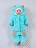 """Велюровый человечек на выписку для новорожденных с шапочкой """"Панда"""" (мятный)"""