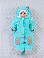 """Велюровый человечек на выписку для новорожденных с шапочкой """"Панда"""" (мятный), фото 1"""