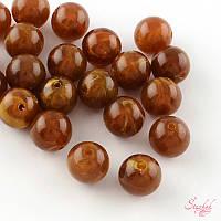 Акриловая бусина 6мм мрамор для рукоделия цвет персиковый коричневый