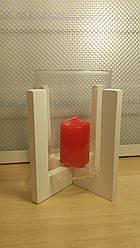 Подсвечник стеклянный на деревянной подставке 80/110 мм