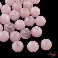 Акриловая бусина 6мм мрамор для рукоделия цвет персиковый розовый