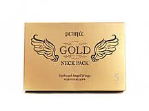 Гидрогелевая маска для шеи с плацентой PETITFEE Hydrogel Angel Wings Gold Neck Pack, 10г х 5шт