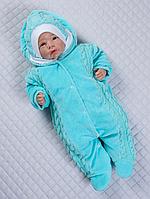 """Велюровый комбинезончик с шапкой для младенцев """"Умка"""" утепленный на махре (бирюза), фото 1"""