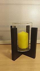 Подсвечник стеклянный на деревянной подставке 90/118 мм