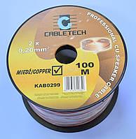 Кабель акустический медный прозрачный 2х0,20мм кв. Cabletech KAB0299  /бухта 100м