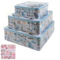 Коробка металлическая для хранения продуктов R82479, 22*9 см, 20*8 см, 15*7 см, квадрат, из 3 шт, Коробка для продуктов, Металические кухонные