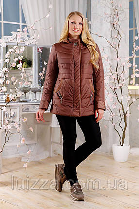 Женская демисезонная куртка с отделкой из ткани 48-60р, коричневый 60, фото 2