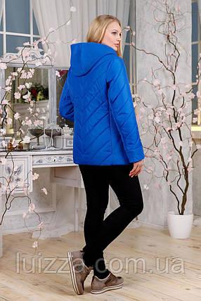 Женская демисезонная куртка с отделкой из ткани 48-60р, электрик, фото 2