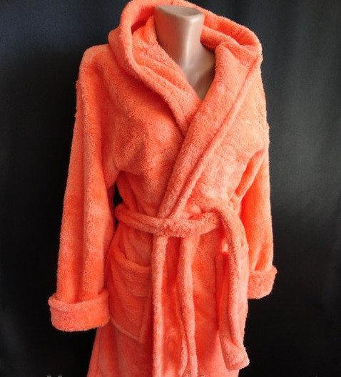 Махровый женский халат манго, цвет персиковый