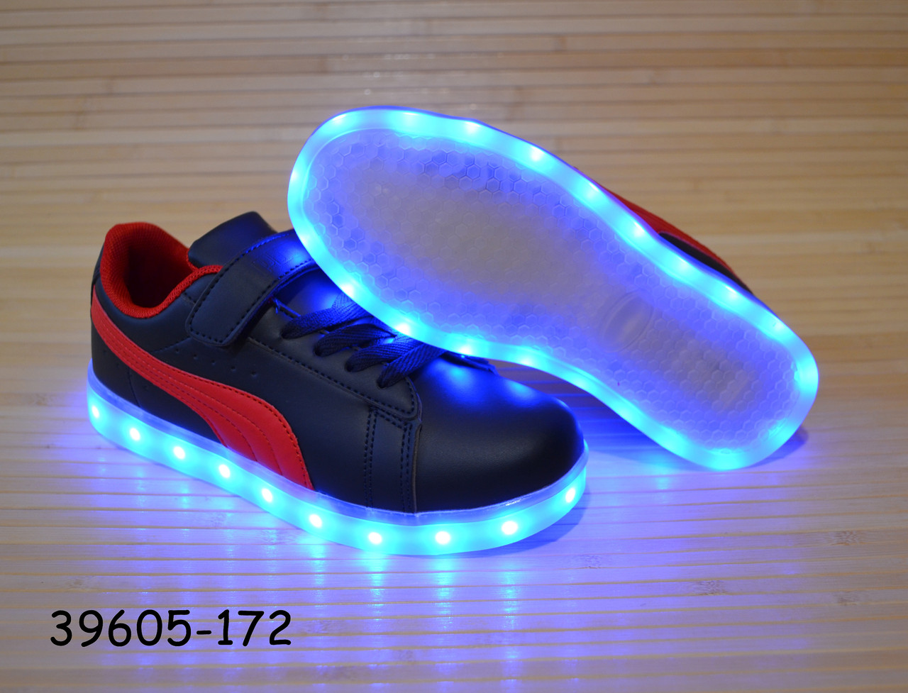 Кроссовки со светящей LED подошвой зарядка USB кабелем 31-36 размеры