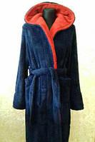 Халат мужской махровый длинный, цвет синий