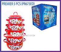 Набор эмалированных кастрюль Premier PR-673 ED из 5 шт. (Красный)