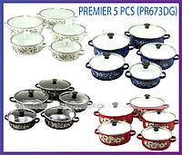Набор эмалированных кастрюль со стеклянными крышками Premier PR-673DG из 5 шт. , фото 1