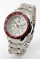 Классические мужские часы (красный корпус, серебристый ремешок), фото 1