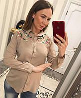 Шикарная женская блузка украшенная бусинами и вышивкой, фото 1
