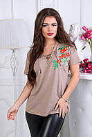 Женская блузка Апликация. S, M, L, турецкий трикотаж.