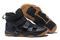 Мужские кроссовки Найк Lebron Soldier 11 Black/Gum Реплика
