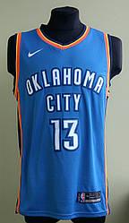 Мужская баскетбольная майка голубая Oklahoma Sity George в стиле Nike NBA