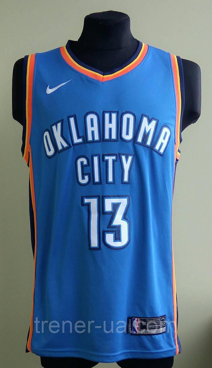 295a4d131b55 Мужская баскетбольная майка голубая Oklahoma Sity George в стиле Nike NBA - Интернет  магазин футбольной атрибутики