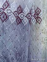 Тюль(гардина) из фатина с бордово-белой вышивкой. Высота 2. 8 м., фото 1
