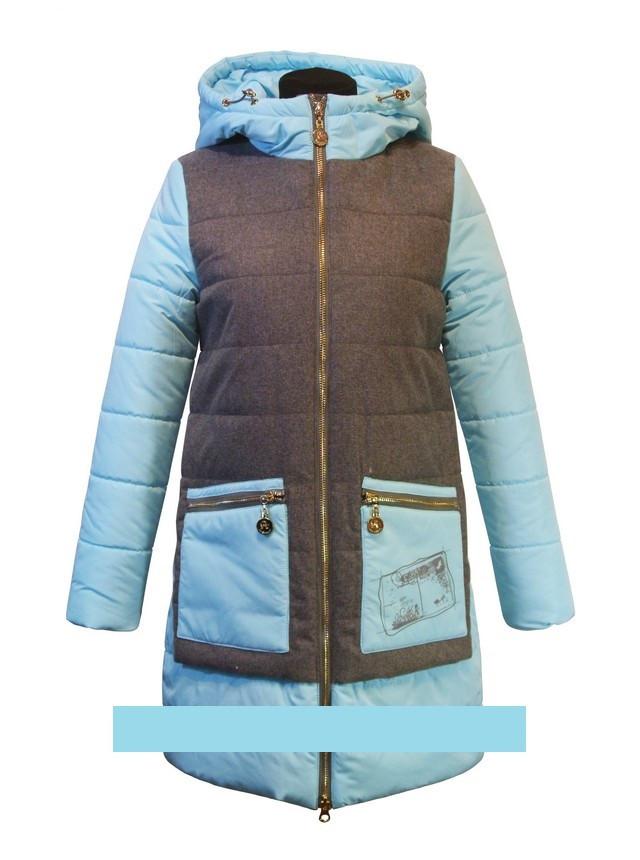 """Детское демисезонное пальто для девочки """"Anernuo"""" 1768 ментол,130-170"""