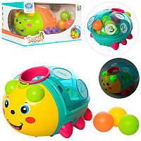 Логическая игра Жук 855-24A, 18см, сортер, шарики 3шт, муз, свет, ездит, 2 цвета, на бат-ке