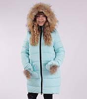 Детское зимнее пальто для девочки с рукавичками от  ANERNUO 17165, 116-140