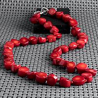 Коралл красный, бусы, 358БСК
