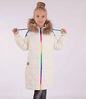 """Детское зимнее пальто для девочки от 3QR 093,в стиле пони """"Радуга Дэш""""  110-150"""