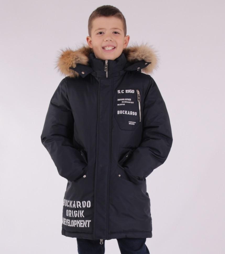 Детское зимнее пальто  для мальчика от ANERNUO 1757 с натуральным мехом, от 130 по 170