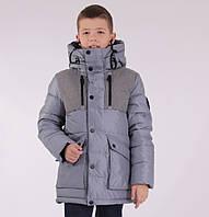 Детская зимняя куртка  для мальчика от ANERNUO 1781 с натуральным мехом. В комплекте наушники. от 130 по 170
