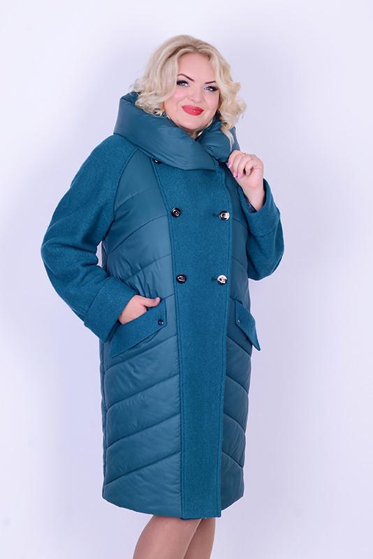 Пальто с варенной шерстью женское зимнее 3043 размер 46-54