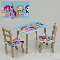 """Столик и два стульчика деревянные """"Литл Пони"""" С 096***"""