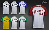 Молодежная стильная баскетбольная футболка хлопковая реглан майкл джордан Jordan 23