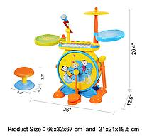 Детская барабанная установка с ударниками и микрофоном 1402 ***