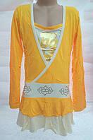 Детская- подростковая  туника-платье Желтое