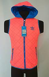 Жилетка женская двухсторонняя в стиле Adidas розово-синяя
