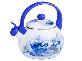 """Чайник эмалированный 2,2 л Орхидея голубая """"Zauberg"""""""