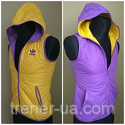 Жилетка женская двухсторонняя в стиле Adidas фиолетово-желтая