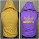 Жилетка женская двухсторонняя в стиле Adidas фиолетово-желтая, фото 3