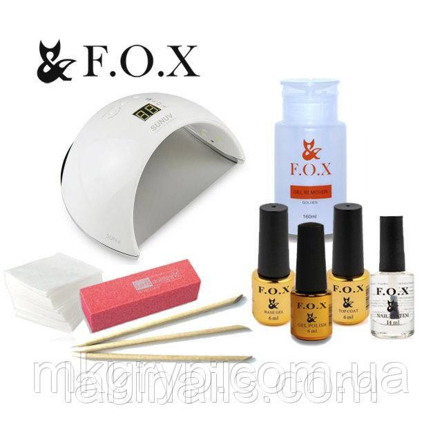 Стартовый набор для покрытия гель лаком F.O.X с лампой  48 W SUN 6   № 6
