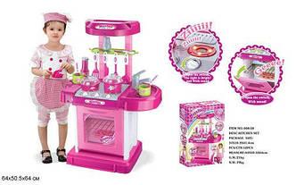 Игровая детская кухня 008-58 электронная, свет, звук, собирается в чемодан,Размер упаковки: 49,5*31,5*10,5 см