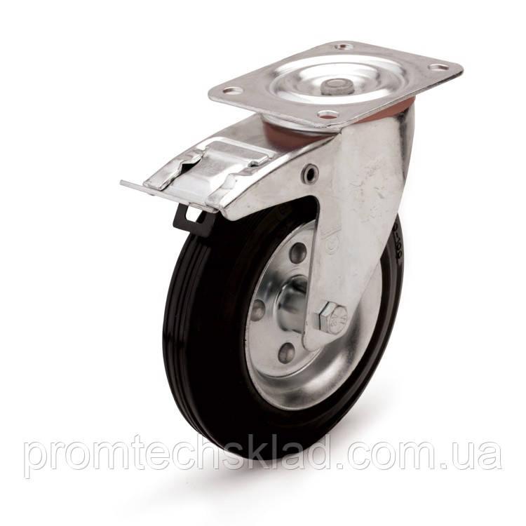 Колесо поворотное с тормозом 125 мм для тележек (Китай)