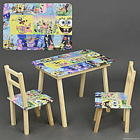 """Столик с ящик и два стульчика деревянные """"Губка Боб"""" С 062 ***"""